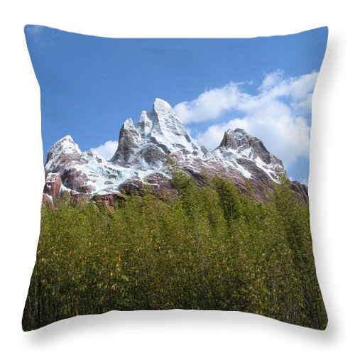 Mountain Throw Pillow featuring the photograph Expedition Everest by Maria Bonnier-Perez