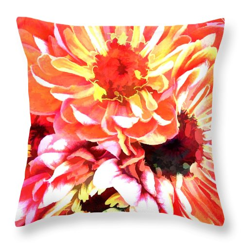 Flower Flowers Garden Zinnias Zinnia Abstract Orange Colorful Flora Floral Nature Natural Throw Pillow featuring the painting Explosion Of Bright Zinnias by Elaine Plesser
