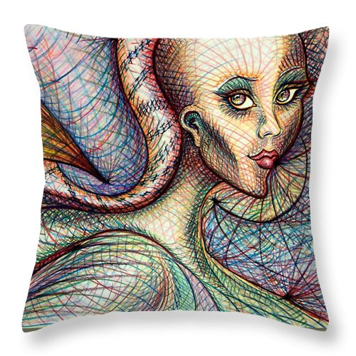 Drawing Throw Pillow featuring the drawing Exposed by Danielle R T Haney