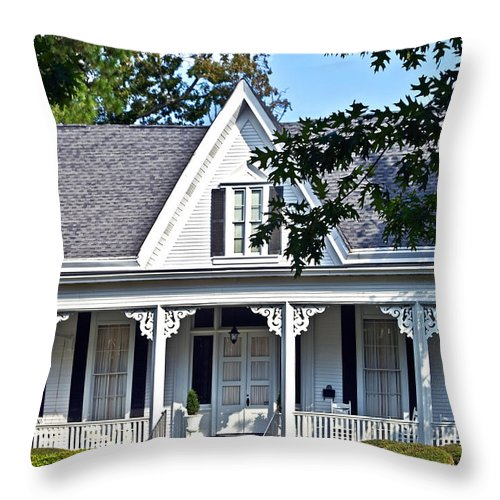 House Throw Pillow featuring the photograph Exterior Of Victorian Style House by Susan Leggett