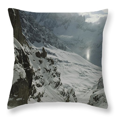 Europe Throw Pillow featuring the photograph Extreme Skier Jean Franck Charlet by Gordon Wiltsie
