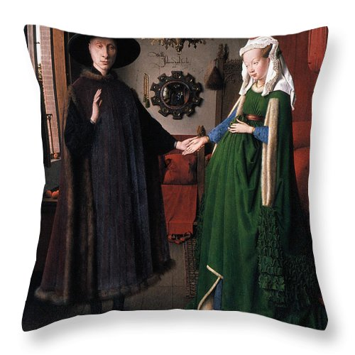1434 Throw Pillow featuring the photograph Eyck: Arnolfini Marriage by Granger