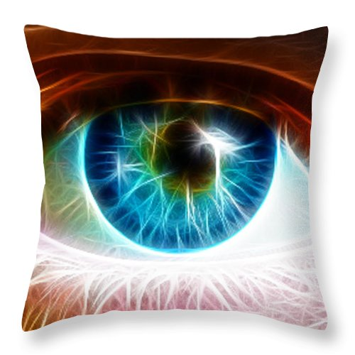 Blue Eyes Throw Pillow featuring the painting Eye by Paul Van Scott