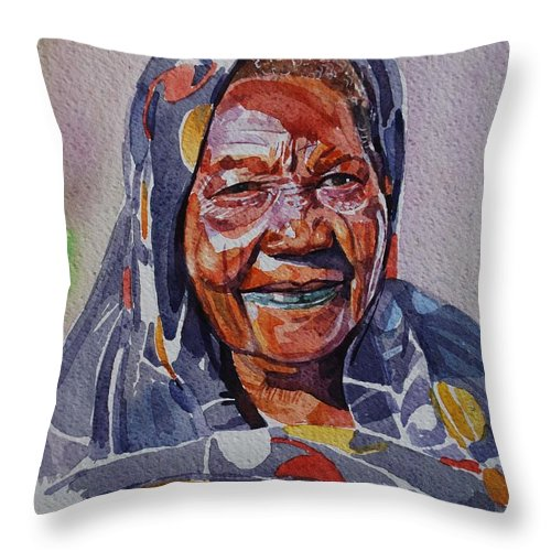 Face23 Throw Pillow featuring the painting Face 23 by Mohamed Fadul