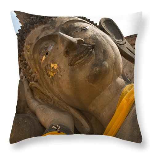 Ancient Throw Pillow featuring the photograph Face Of A Reclining Buddha by U Schade
