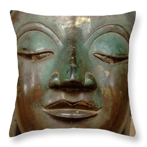 Face Throw Pillow featuring the photograph Face Of Bronze Buddha by Bob Christopher