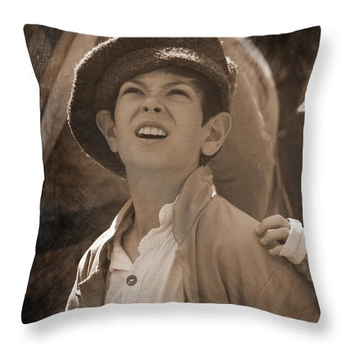 Civil War Throw Pillow featuring the mixed media Faces Of War by Kim Henderson