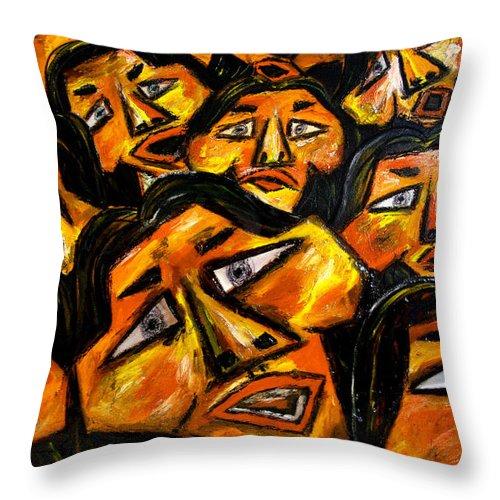 Faces Throw Pillow featuring the digital art Faces Yellow by Karen Elzinga