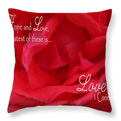 Catholic Throw Pillow featuring the photograph Faith Hope Love Rose by Robyn Stacey