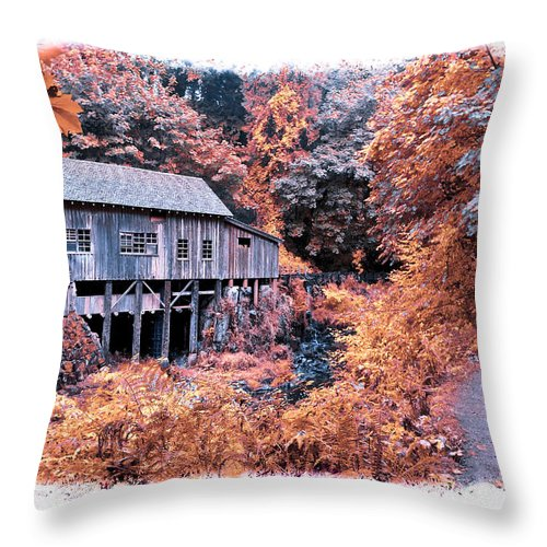 Cabin Throw Pillow featuring the photograph Fall Grist Mill by Steve McKinzie