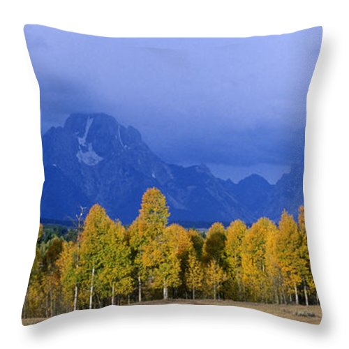 Fall Storm Over The Tetons Throw Pillow featuring the photograph Fall Storm Over The Tetons by Gary Langley
