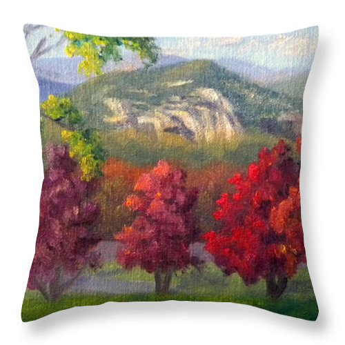 Landscape Throw Pillow featuring the painting Fall View from the Red Jacket Inn by Sharon E Allen