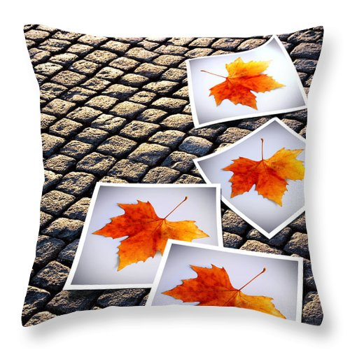 Abstract Throw Pillow featuring the photograph Fallen Autumn Prints by Carlos Caetano