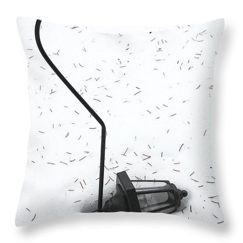 Lamplight Throw Pillow featuring the photograph Fallen Lamplight In Snow by Mike Nellums