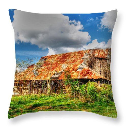 Old Barn Throw Pillow featuring the photograph Falling Barn by Kevin Pugh