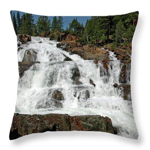 Usa Throw Pillow featuring the photograph Falls Glen Alpine Falls Tahoe by LeeAnn McLaneGoetz McLaneGoetzStudioLLCcom