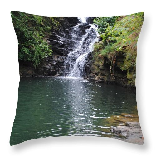 Waterfall Throw Pillow featuring the photograph Falls Into The Pond by Jost Houk