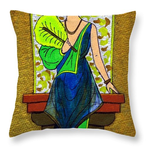 Nostalgia Throw Pillow featuring the drawing Fan Lady by Mel Thompson