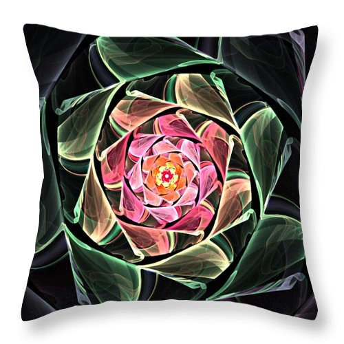 Fine Art Throw Pillow featuring the digital art Fantasy Floral Expression 111311 by David Lane