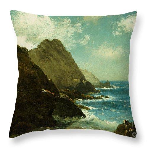 Albert Bierstadt Throw Pillow featuring the painting Farallon Islands by Albert Bierstadt