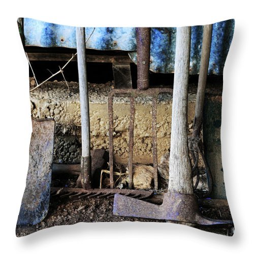 Spade Throw Pillow featuring the photograph Farm Tool by Stephen Mitchell
