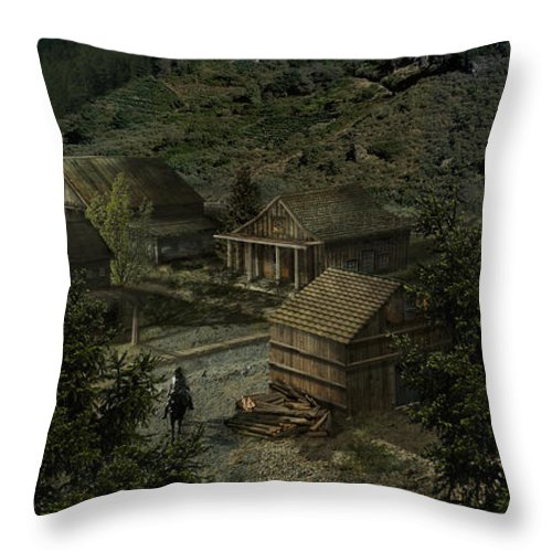 Landscape Throw Pillow featuring the digital art Farm Town by Virginia Palomeque