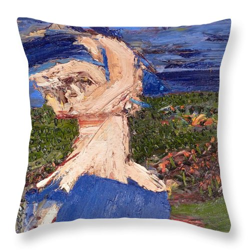 � Throw Pillow featuring the painting Farmers Widow by JC Armbruster