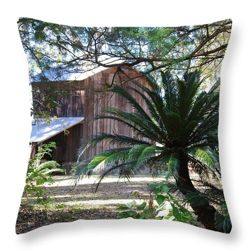 Tobacco Barn Throw Pillow featuring the photograph Farming Memories by Judy Hall-Folde
