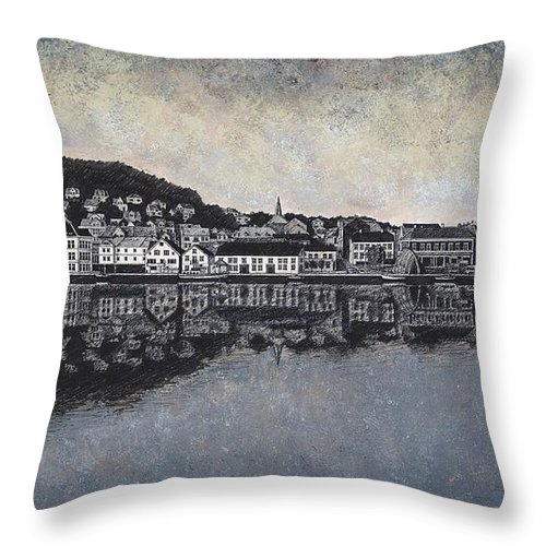 Seascape Throw Pillow featuring the drawing Farsund Waterfront by Janet King