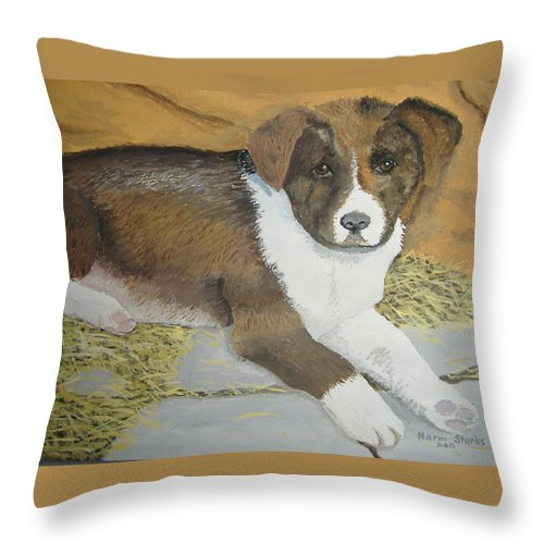 Puppy Throw Pillow featuring the painting Fat Puppy by Norm Starks