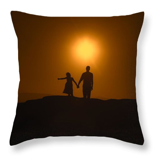 Two Throw Pillow featuring the photograph Father And Daughter by Joana Kruse