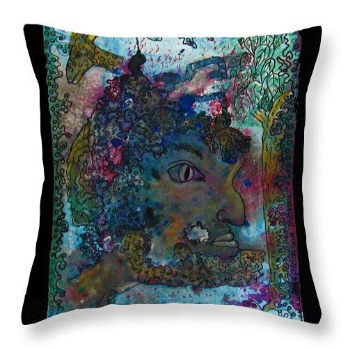 Faun Throw Pillow featuring the painting Faun - Nature Spirit by Mimulux patricia No