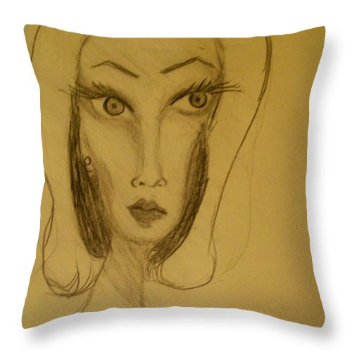 Throw Pillow featuring the drawing Fawny Eyes by Laurette Escobar