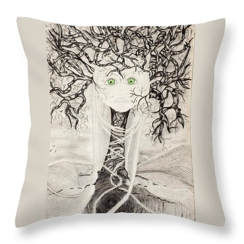 Fear Throw Pillow featuring the drawing Fear by Yolanda Raker