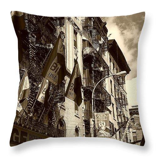 Feast Of San Gennaro Throw Pillow featuring the photograph Feast Flags by Catie Canetti