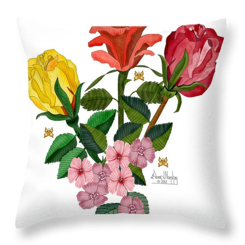 Roses Throw Pillow featuring the painting February 2012 Roses And Blooms by Anne Norskog