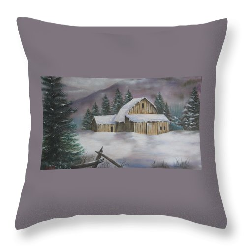 Winter Throw Pillow featuring the painting February Snowstorm by Terry Boulerice