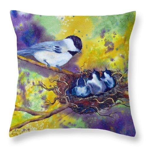 Chickadee Throw Pillow featuring the painting Feeding Chorus by Dee Carpenter