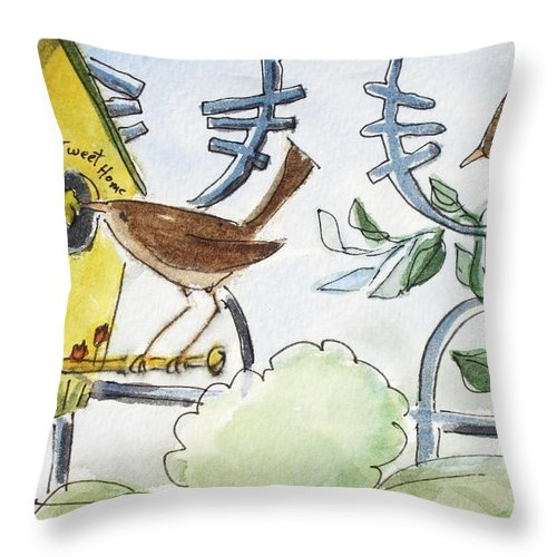 Bird Throw Pillow featuring the painting Feeding The Baby Wrens by Marilyn Jacobson