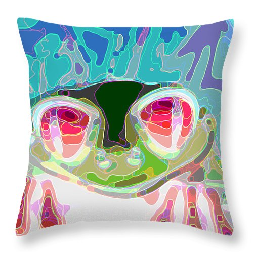 Frogs Throw Pillow featuring the digital art Feeling Froggy by Jimi Bush