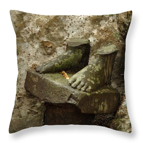 Cambodian Youth Throw Pillow featuring the photograph Cambodia Carved Feet by Bob Christopher