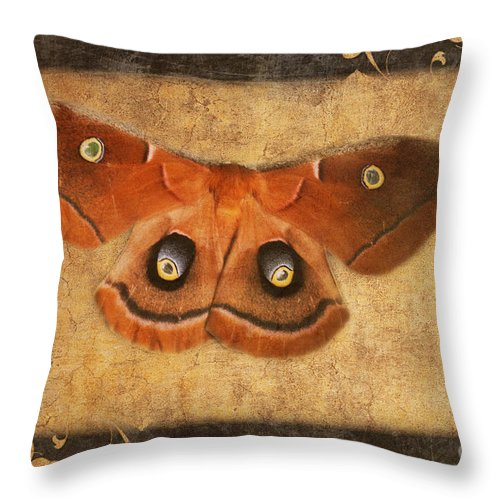 Butterfly Throw Pillow featuring the photograph Female Moth by Andee Design