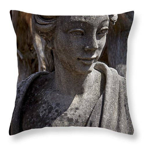 Female Throw Pillow featuring the photograph Female Statue by Garry Gay