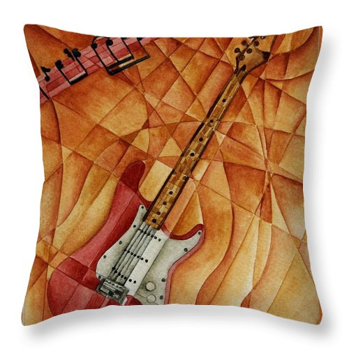 Music Throw Pillow featuring the painting Fender by Tiffany Budd