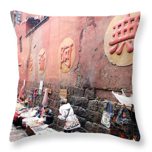 River Throw Pillow featuring the photograph Fenghuang Street by Valentino Visentini