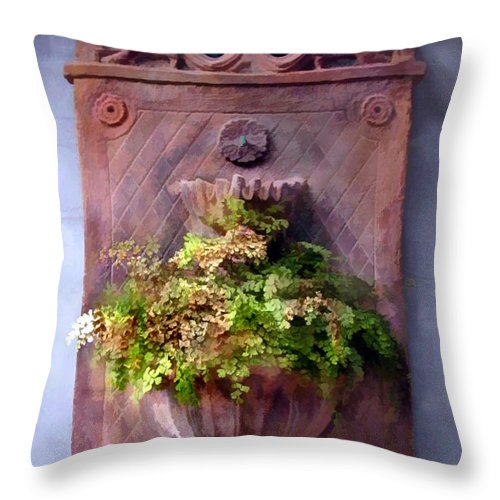Throw Pillow featuring the painting Fern In Antique Wall Planter by Elaine Plesser