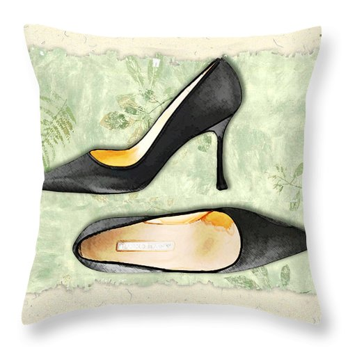 Shoes Heels Pumps Fashion Designer Feet Foot Shoe Stilettos Painting Paintings Illustration Illustrations Sketch Sketches Drawing Drawings Pump Stiletto Fetish Designer Fashion Boot Boots Footwear Sandal Sandals High+heels High+heel Women's+shoes Graphic Sophisticated Elegant Modern Throw Pillow featuring the painting Ferns And Feet by Elaine Plesser
