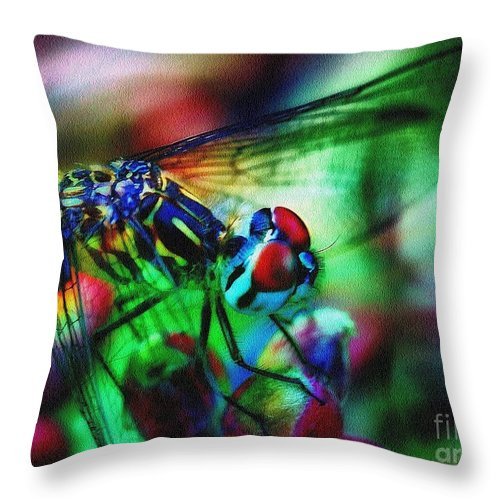 Dragonfly Throw Pillow featuring the photograph Ferocious by Judi Bagwell