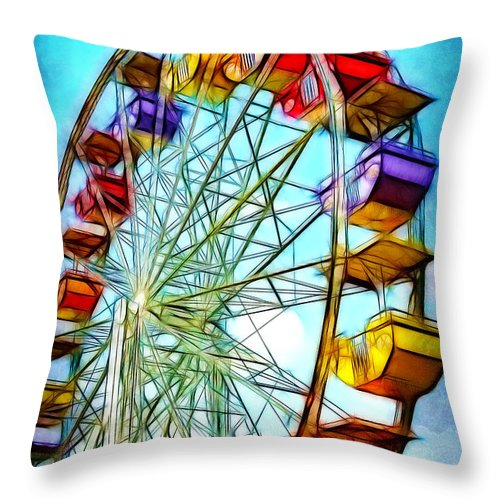 Carnival Throw Pillow featuring the photograph Ferris Wheel by Judi Bagwell