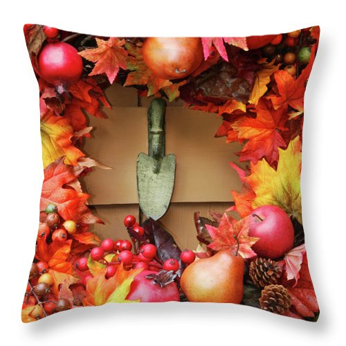 Autumn Throw Pillow featuring the photograph Festive Autumn Wreath by Sandra Cunningham